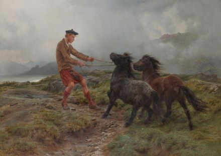 Bonheur, Rosa: A Ghillie and Two Shetland Ponies in a Misty Landscape. Fine Art Print.  (001596)